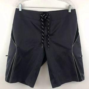 Lululemon El Current Shorts Trunks Gray Black 34